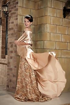 Chic One Shoulder A-line Full Length Leopard Evening Dress