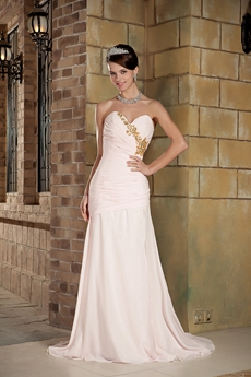 A-line Chiffon Full Length Pink Prom Dress With Lace