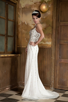 Beaded Spaghetti Straps Ivory Chiffon Beach Wedding Dress