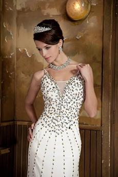 Beaded Spaghetti Straps Ivory Chiffon Beach Wedding Dress