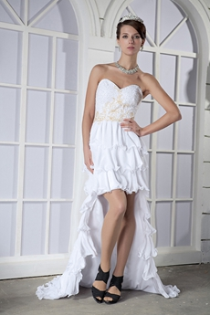 Hawaii Sweetheart High Low Chiffon Beach Wedding Dress