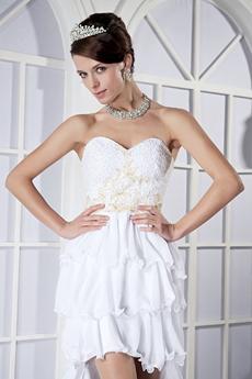 Hawaii Sweetheart High Low Chiffon Beach Wedding Dress