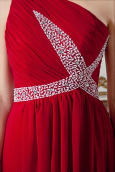 Column Floor Length One Shoulder Red Chiffon Prom Dress