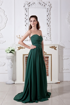 Elegance Sweetheart Dark Green Chiffon Prom Dress