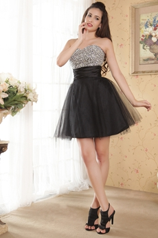 Beaded Sweetheart Puffy Mini Length Black Sweet 16 Dress