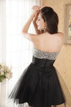 Beaded Sweetheart Puffy Mini Length Black Sweet 16 Dress