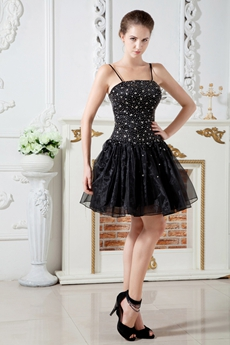 Beaded Bodice Spaghetti Straps Puffy Black Organza Damas Dress