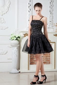 Beaded Bodice Spaghetti Straps Puffy Black Organza Damas Dress