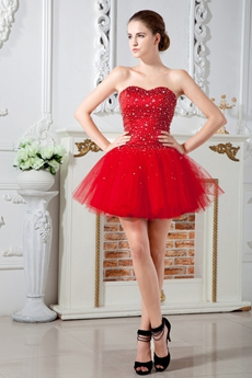 Puffy Mini Length Sweetheart Red Tulle Sweet 16 Dress