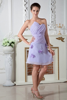 Asymmetrical Neckline Lavender Chiffon Homecoming Dress