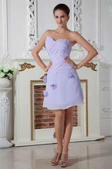Asymmetrical Neckline Lavender Chiffon Homecoming Dress