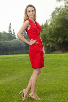 Sheath Mini Length Red Wedding Guest Dress