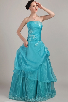 Cute Strapless Ball Gown Teal Organza Quinceanera Dress