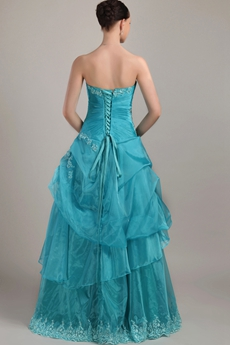 Cute Strapless Ball Gown Teal Organza Quinceanera Dress