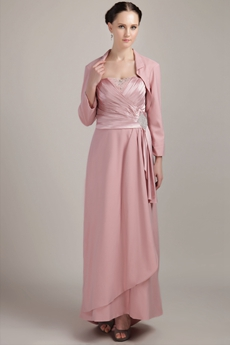 Dusty Rose A-line Chiffon Mother Of The Groom Dress With Jacket
