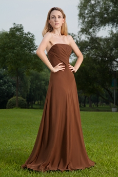 Strapless A-line Full Length Brown Chiffon Mother Of the Bride Dress