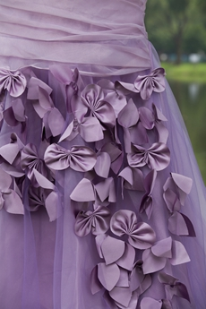 Butterfly One Shoulder Organza Lilac Mermaid Prom Dress