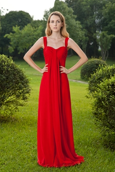 Empire Floor Length Red Chiffon Maternity Prom Dress With Jacket