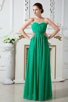 Beautiful Column Full Length Green Chiffon Bridesmaid Dress