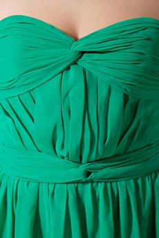 Beautiful Column Full Length Green Chiffon Bridesmaid Dress