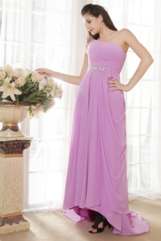 One Shoulder Lilac Chiffon Prom Dress Full Length