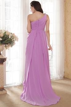 One Shoulder Lilac Chiffon Prom Dress Full Length