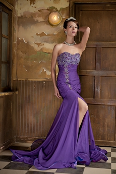 Special Sweetheart Full Length Trumpet Violet Prom Dress