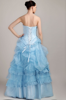 Newest Beaded Bust Blue Organza Quinceanera Gown Corset Back