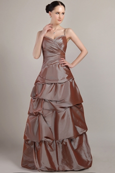Spaghetti Straps Puffy Floor Length Taffeta Quinceanera Dress With Rosette
