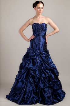 Sweetheart Royal Blue Taffeta Mexican Quinceanera Dress