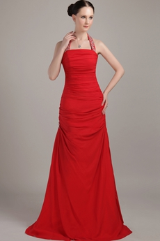 Red Chiffon A-line Halter Formal Evening Dress