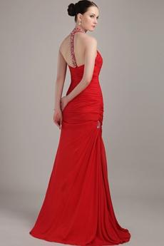 Red Chiffon A-line Halter Formal Evening Dress