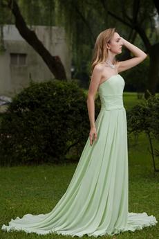Sage Chiffon A-line Strapless Long Prom Dress