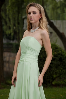 Sage Chiffon A-line Strapless Long Prom Dress