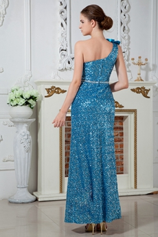 One Shoulder Column Ankle Length Turquoise Sequined Prom Gown