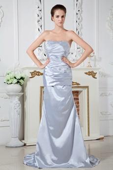 Sheath Floor Length Silver Evening Dress Corset Back