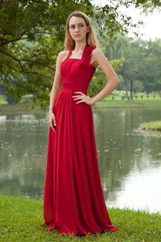 Attractive Halter A-line Red Chiffon Formal Evening Gown