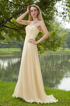 Elegance Sweetheart Pale Yellow Chiffon Formal Evening Dress