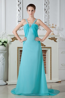 Charming Straps A-line Full Length Aqua Evening Dress