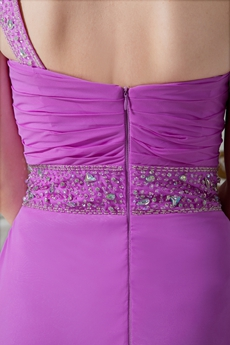One Shoulder Column Full Length Lilac Bridesmaid Dress