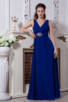 V-Neckline Column Floor Length Roayl Blue Mother Of The Groom Dress