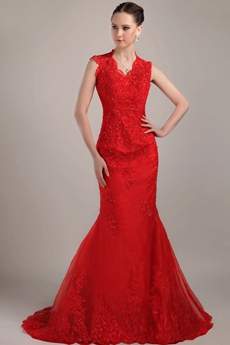 Keyhole Back Full Length Red Lace Mermaid Wedding Gown