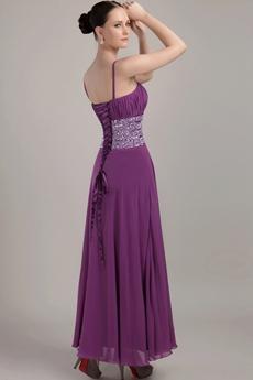 Column Ankle Length Spaghetti Straps Regency Bridesmaid Dress