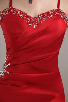 Column Full Length Spaghetti Straps Red Prom Dress Lace Up Back