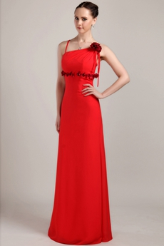 Column Full Length Red Chiffon Junior Prom Dress