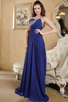One Shouder Royal Blue Long Prom Dress Cut Out Back