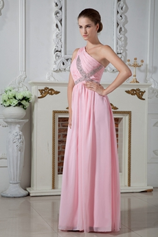 Straight Full Length One Shoulder Pink Chiffon Bridesmaid Dress