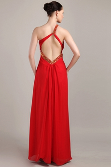 Column Full Length Red Chiffon One Shoulder Prom Gown