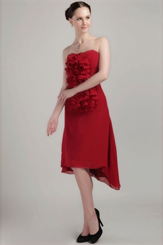 Strapless Dark Red Chiffon Homecoming Dress Asymmetrical Hem