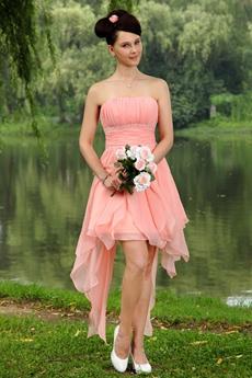 High Low Chiffon Strapless Peach Sweet Sixteen Dress